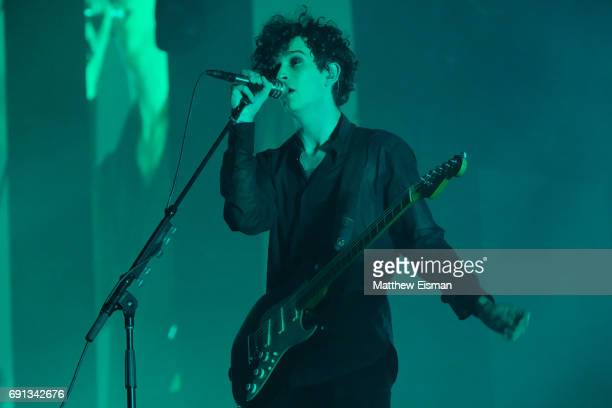 Singer Matthew Healy of the band The 1975 performs live on stage at Madison Square Garden on June 1 2017 in New York City