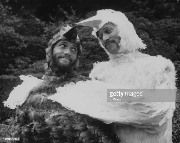 Singer Maurice and Barry Gibb of the Bee Gees filming a sketch for the television show 'Cucumber Castle' at the home of their manager Robert Stigwood...