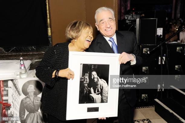 Singer Mavis Staples and filmmaker Martin Scorsese pose backstage during the Gordon Parks Foundation Awards Dinner Auction at Cipriani 42nd Street on...