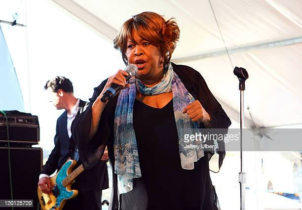 Singer Mavis Staples performs during the 2011 Newport Folk Festival at Fort Adams State Park on July 30 2011 in Newport Rhode Island