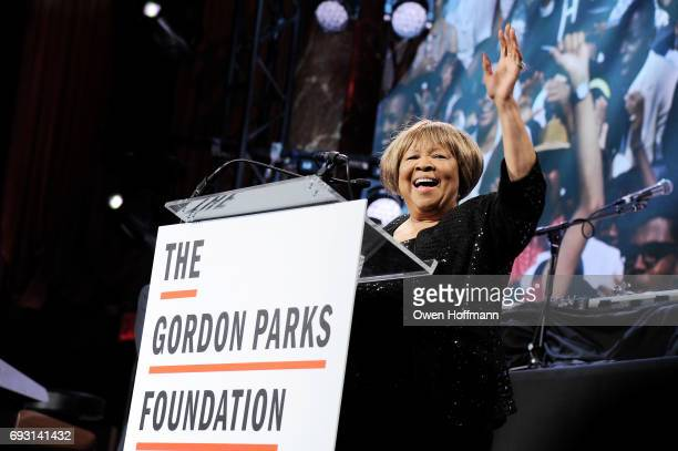 Singer Mavis Staples speaks onstage during the Gordon Parks Foundation Awards Dinner Auction at Cipriani 42nd Street on June 6 2017 in New York City