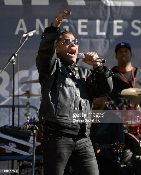 Singer Maxwell performs during the Women's March Los Angeles 2018 on January 20 2018 in Los Angeles California