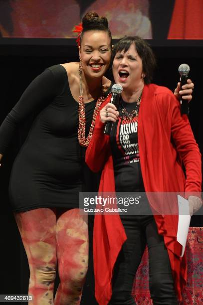 Singer Maya Azucena and playwright Eve Ensler speak onstage at the JUSTLOVE event as part of the global ONE BILLION RISING FOR JUSTICE campaign to...