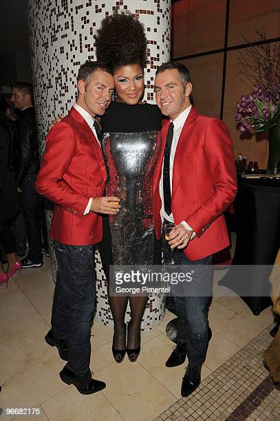 Singer Measha Brueggergosman with designers Dean Caten and Dan Caten at the DSquared and MAC Cosmetics celebration for the opening of the 2010 Winter...