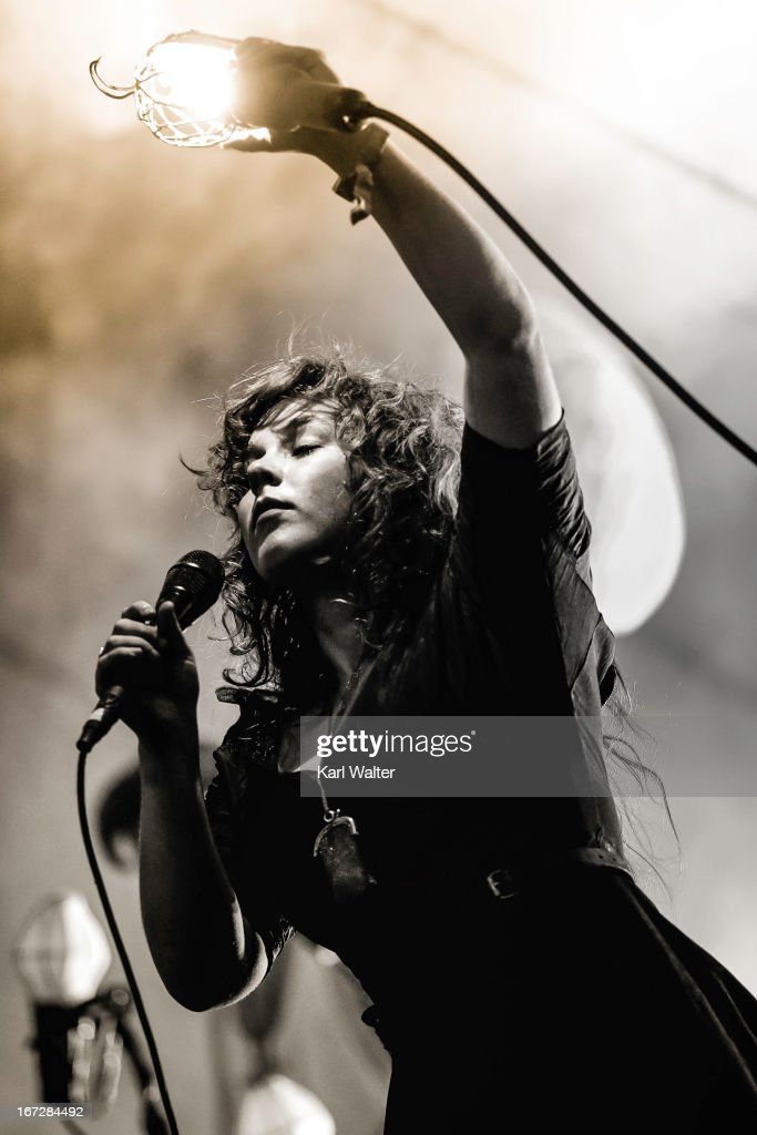 Singer Megan James of Purity Ring performs onstage during day 1 of the 2013 Coachella Valley Music & Arts Festival at the Empire Polo Club on April 12, 2013 in Indio, California.