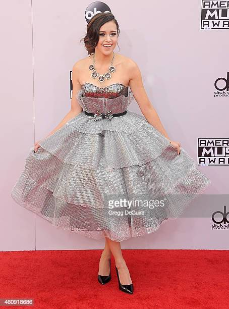 Singer Megan Nicole arrives at the 2014 American Music Awards at Nokia Theatre LA Live on November 23 2014 in Los Angeles California