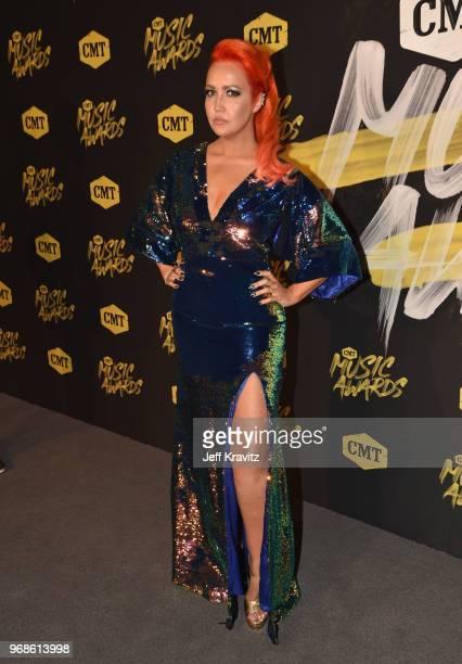 Singer Meghan Linsey attends the 2018 CMT Music Awards at Nashville Municipal Auditorium on June 6 2018 in Nashville Tennessee