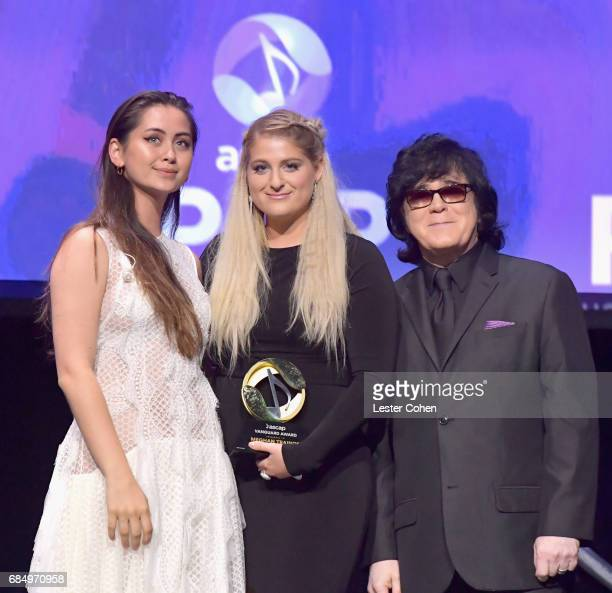 Singer Meghan Trainor accepts the Vanguard Award with singer Jasmine Thompson and ASCAP EVP of Membership John Titta onstage at the 2017 ASCAP Pop...