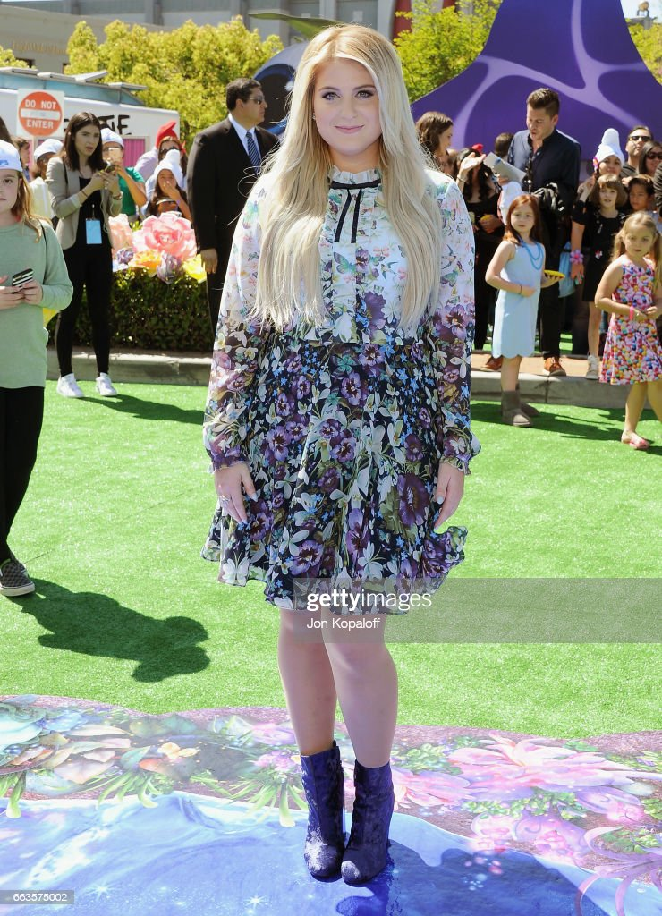 Singer Meghan Trainor arrives at the Los Angeles Premiere 'Smurfs: The Lost Village' at ArcLight Cinemas on April 1, 2017 in Culver City, California.