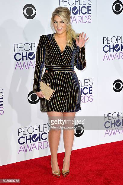 Singer Meghan Trainor arrives at the People's Choice Awards 2016 at Microsoft Theater on January 6 2016 in Los Angeles California
