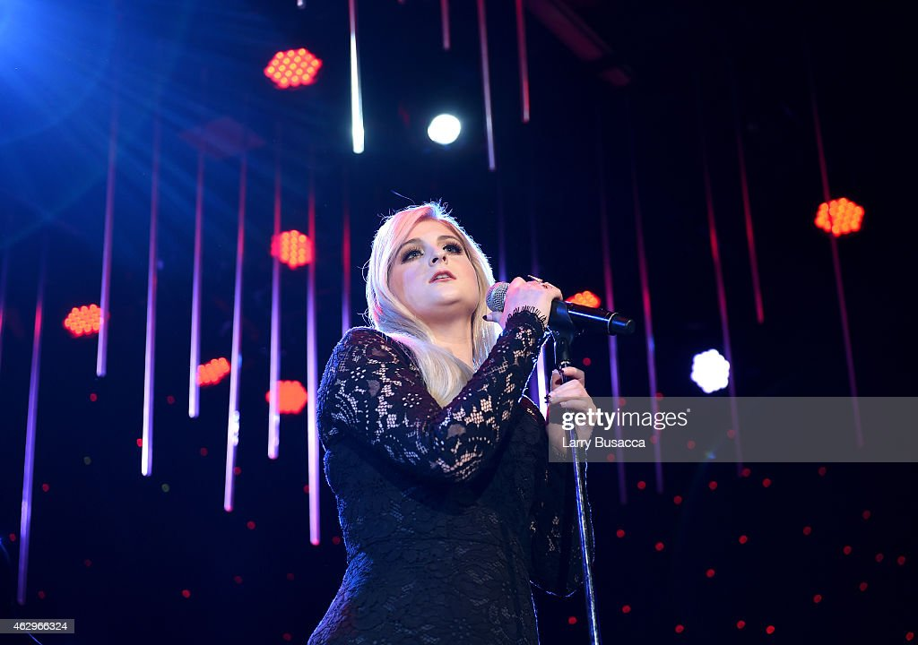 Singer Meghan Trainor onstage during the Pre-GRAMMY Gala and Salute To Industry Icons honoring Martin Bandier at The Beverly Hilton Hotel on February 7, 2015 in Beverly Hills, California.