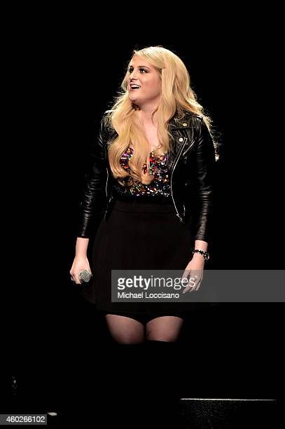 Singer Meghan Trainor performs onstage at the Q102's Jingle Ball 2014 at Wells Fargo Center on December 10 2014 in Philadelphia Pennsylvania