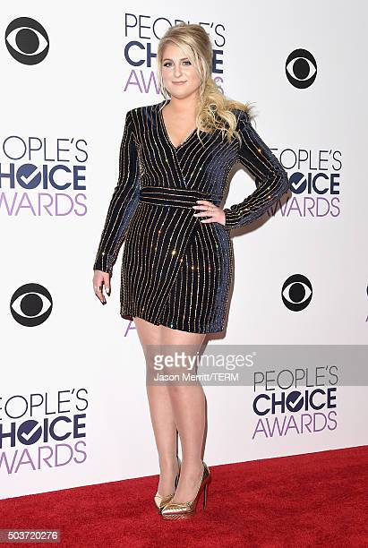 Singer Meghan Trainor poses in the press room during the People's Choice Awards 2016 at Microsoft Theater on January 6 2016 in Los Angeles California