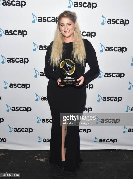 Singer Meghan Trainor poses with the Vanguard Award backstage at the 2017 ASCAP Pop Awards at The Wiltern on May 18 2017 in Los Angeles California