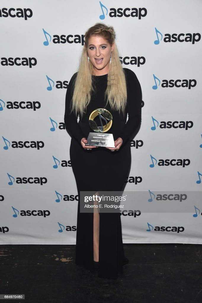 Singer Meghan Trainor poses with the Vanguard Award backstage at the 2017 ASCAP Pop Awards at The Wiltern on May 18, 2017 in Los Angeles, California.