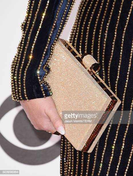 Singer Meghan Trainor purse detail attends the People's Choice Awards 2016 at Microsoft Theater on January 6 2016 in Los Angeles California
