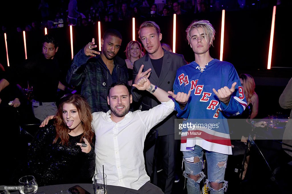 Singer Meghan Trainor, rapper Big Sean, recording artist Diplo, singer Justin Bieber and manager Scooter Braun attend the iHeartRadio Music Awards which broadcasted live on TBS, TNT, AND TRUTV from The Forum on April 3, 2016 in Inglewood, California.