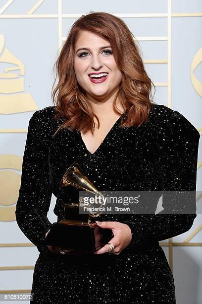 Singer Meghan Trainor winner of the Best New Artist award poses in the press room during The 58th GRAMMY Awards at Staples Center on February 15 2016...