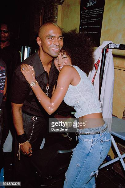 Singer Mel B from The Spice Girls with her husband Dutch dancer Jimmy Gulzar at a Julien MacDonald fashion show at the Roundhouse in Camden during...