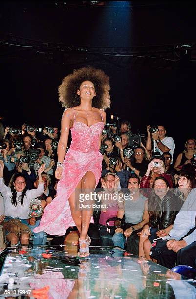 Singer Mel B of English pop group The Spice Girls takes part in a Julien MacDonald fashion show at the Roundhouse in Camden during London Fashion...