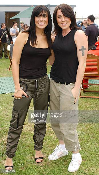 Singer Mel C and Kym Marsh backstage at Southern FM's 'Party In The Park 2003' at Preston Park on June 22 2003 in Brighton England