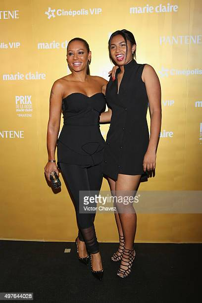 Singer Melanie Brown and daughter Phoenix Chi Gulzar attend the Prix De La Mode Marie Claire at Hotel Hyatt Campos Eliseos on November 17 2015 in...