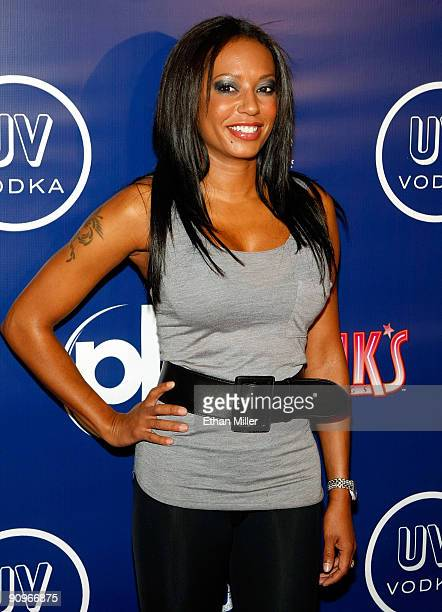 Singer Melanie Brown arrives at the grand opening of Pink's Hot Dogs at the Planet Hollywood Resort Casino September 18 2009 in Las Vegas Nevada