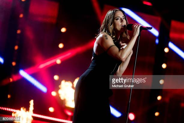 Singer Melanie C performs on stage during the rehearsal for the 'Starnacht am Woerthersee' at Woertherseebuehne on July 21 2017 in Klagenfurt Austria