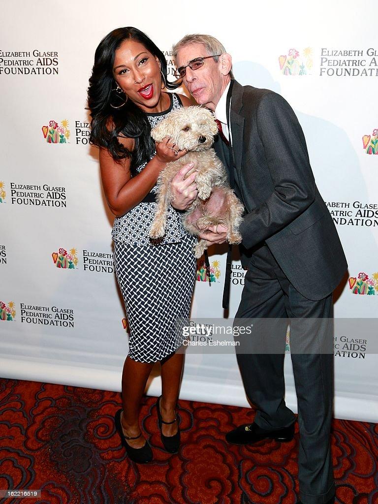 Singer Melanie Fiona, dog Bebe and actor Richard Belzer attend the 2013 Elizabeth Glaser Pediatric AIDS Foundation awards dinner at Mandarin Oriental Hotel on February 20, 2013 in New York City.