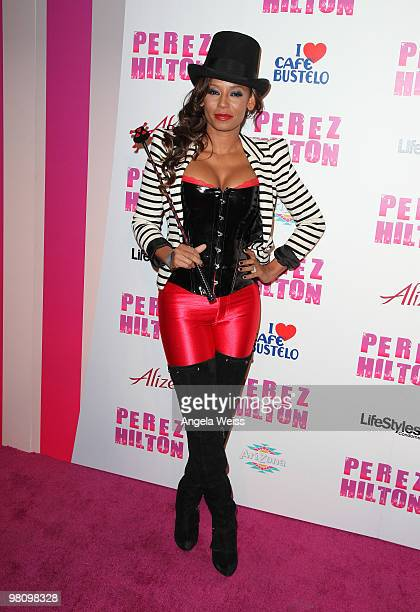 Singer Melanie 'Mel B' Brown attends Perez Hilton's 'CarnEvil' 32nd birthday party at Paramount Studios on March 27 2010 in Los Angeles California