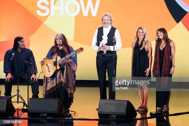 Singer Melanie Safka and her family and German presenter Thomas Gottschalk during the tv show 'Gottschalks grosse 68er Show' on September 6, 2018 in...