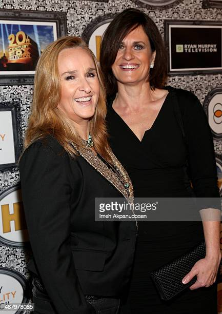 Singer Melissa Etheridge and Linda Wallem attend Family Equality Council's annual Los Angeles awards dinner at The Globe Theatre on February 8 2014...