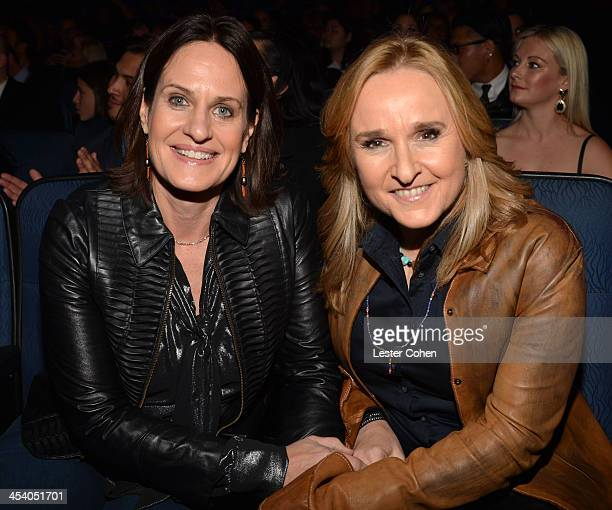 Singer Melissa Etheridge and Linda Wallem attend The GRAMMY Nominations Concert Live Countdown to Music's Biggest Night at Nokia Theatre LA Live on...