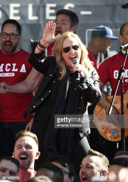 Singer Melissa Etheridge performs onstage at 2018 Women's March Los Angeles at Pershing Square on January 20, 2018 in Los Angeles, California.