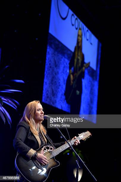 Singer Melissa Etheridge performs onstage at Family Equality Council's annual Los Angeles awards dinner at The Globe Theatre on February 8 2014 in...