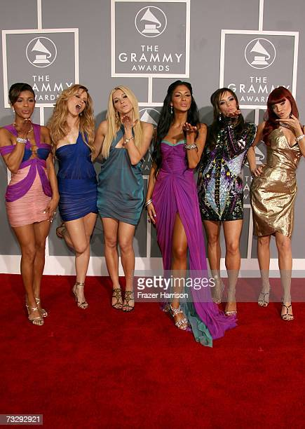 Singer Melody Thornton Kimberly Wyatt Ashley Roberts Nicole Scherzinger Jessica Sutta and Carmit Bachar of the Pussycat Dolls arrive at the 49th...