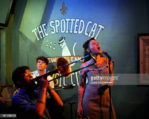 Singer Meschiya Lake belts out a tune while singing with The Little Big Horns at The Spotted Cat on Frenchman Street in the Faubourg Marigny...