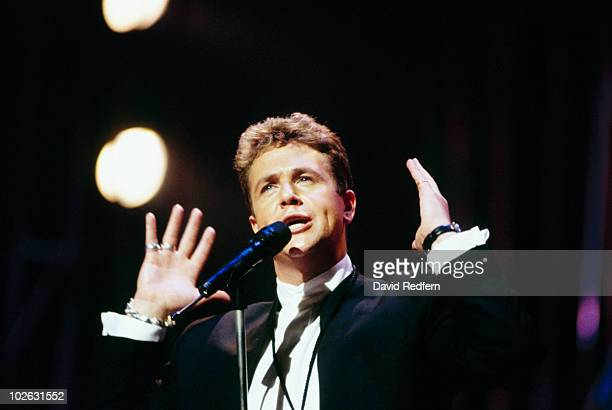 Singer Michael Ball performs on stage circa 1995