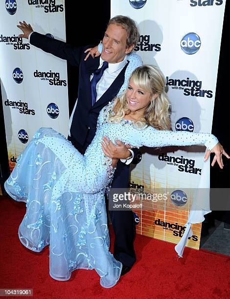 Singer Michael Bolton and dance partner Chelsie Hightower pose at Dancing With The Stars Season Premiere at CBS Studios on September 20 2010 in Los...