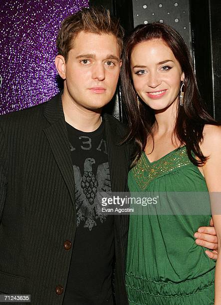 Singer Michael Buble and actress Emily Blunt attend The Devil Wears Prada premiere after party at 230 Fifth June 19 2006 in New York City