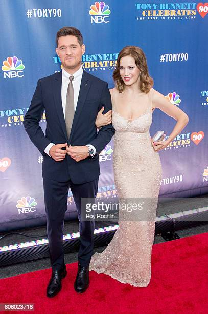 Singer Michael Buble and Luisana Lopilato attend Tony Bennett Celebrates 90 The Best Is Yet To Come at Radio City Music Hall on September 15 2016 in...