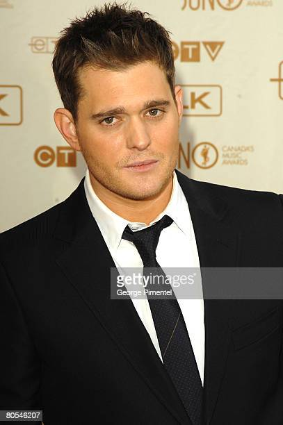 Singer Michael Buble attends the 2008 Juno Awards at the Pengrowth Saddledome on April 6 2008 in Calgary Alberta Canada