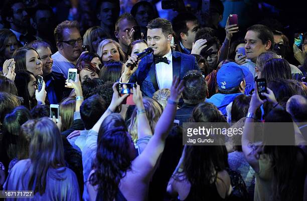 Singer Michael Buble performs on stage at the 2013 Juno Awards held at the Brandt Centre on April 21 2013 in Regina Canada