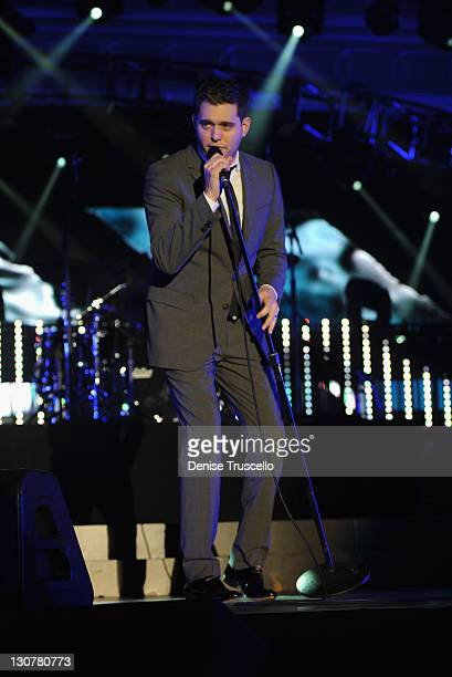 Singer Michael Buble performs onstage during the Andre Agassi Foundation for Education's 16th Grand Slam for Children benefit concert at the Wynn Las...