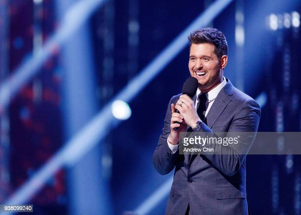 Singer Michael Buble speaks on stage during the 2018 JUNO Awards at Rogers Arena on March 25 2018 in Vancouver Canada