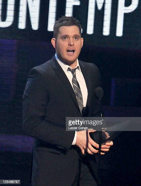 Singer Michael Buble speaks onstage during the 2010 American Music Awards held at Nokia Theatre L.A. Live on November 21, 2010 in Los Angeles,...