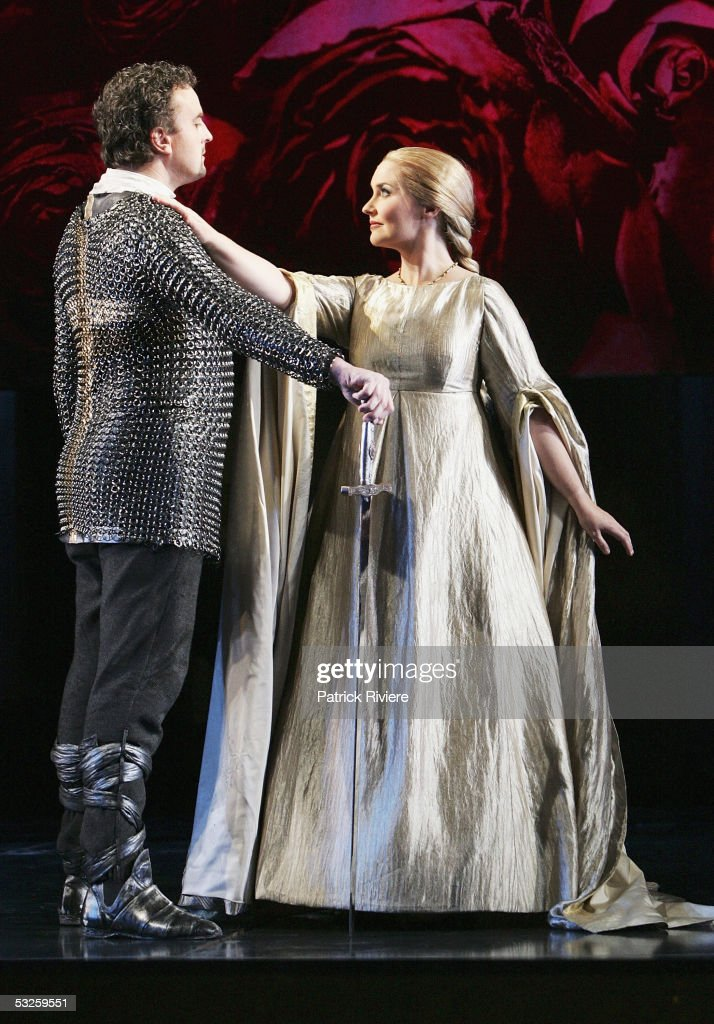 Singer Michael Chance (Rinaldo)and Emma Matthews (Alminera) perform during a dress rehearsal of Handel's 'Rinaldo' at the Opera House on July 19, 2005 in Sydney, Australia.