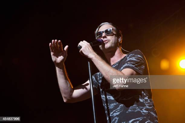 Singer Michael Fitzpatrick of Fitz and the Tantrums performs during 1065 The END for the Weenie Roast at PNC Music Pavilion on September 6 2014 in...