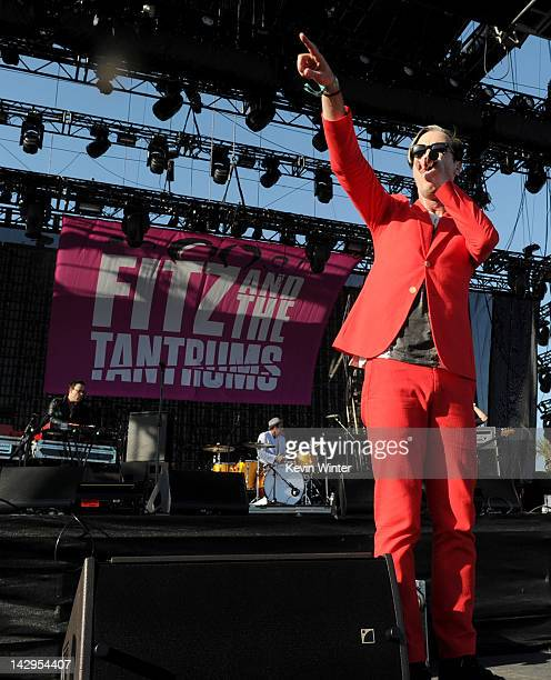 Singer Michael Fitzpatrick of Fitz and the Tantrums performs onstage during day 3 of the 2012 Coachella Valley Music Arts Festival at the Empire Polo...