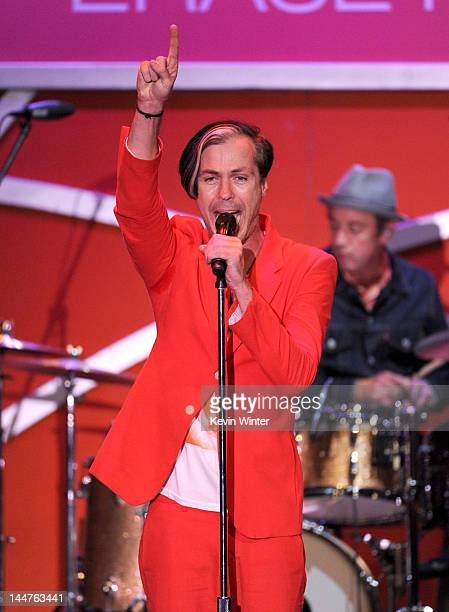 Singer Michael Fitzpatrick of Fitz and The Tantrums performs onstage at the 19th Annual Race to Erase MS held at the Hyatt Regency Century Plaza on...